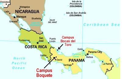 Map of Central America with approximate location of Boquete, Panama